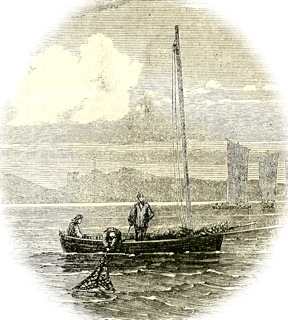 Oyster fishing off Prestonpans, 1862
