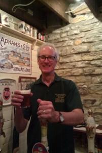 Bob Walser serving a pint of homebrew